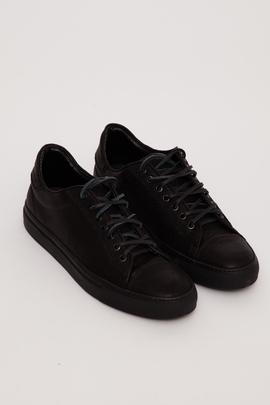 Wings + Horns Black Leather Low-Top Sneaker SS16