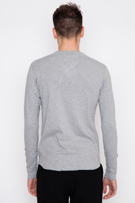 Wings + Horns Heather Grey Base L/S Henley SS16