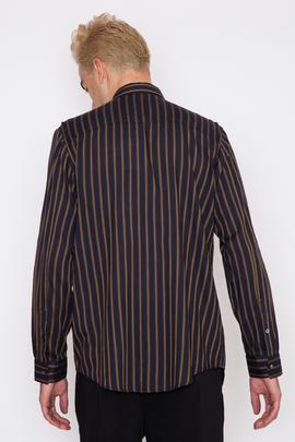Robert Geller Striped Shoulder Pleat Shirt